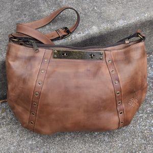 Patricia Nash Distressed Brown Leather Hobo Bag